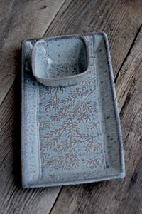 SLATE SMALL RECTANGLE PLATTER SET WITH FERNS