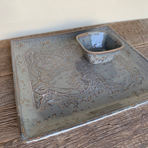 SLATE SMALL SQUARE PLATTER SET IN MEHNDI