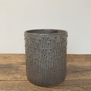 SLATE UTENSIL HOLDER WITH PUSSY WILLOWS