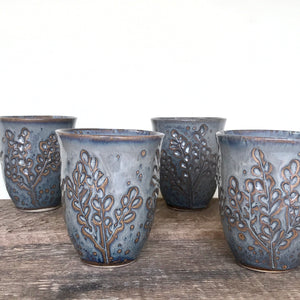 SLATE WINE CUPS WITH CARVED BRANCHES