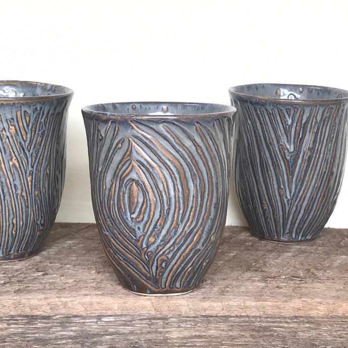 SLATE WINE CUPS WITH CARVED WOOD GRAIN