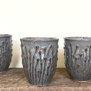 SLATE WINE CUPS WITH PUSSY WILLOWS
