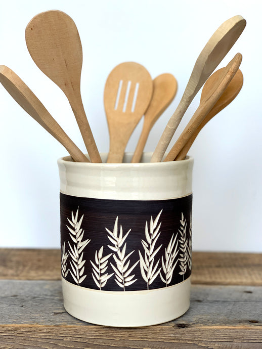 BOTANICAL SILHOUETTES UTENSIL HOLDER - B