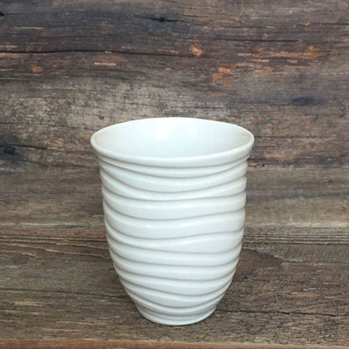 IVORY WINE CUPS WITH CARVED WAVES