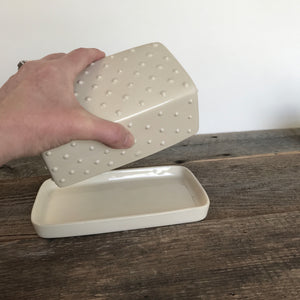 IVORY BUTTER DISH WITH DOTS