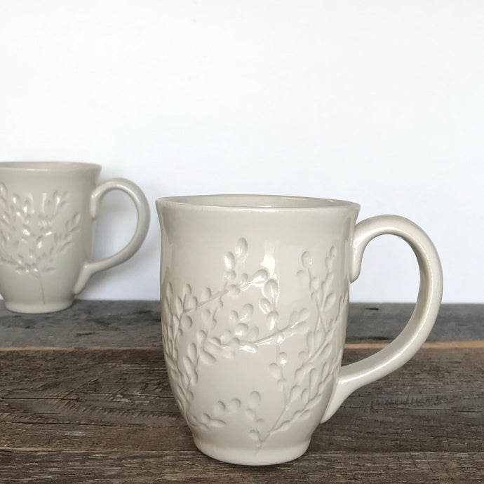 Handcrafted Carved White Mug