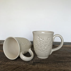 IVORY MUG 15 OUNCES WITH CARVED BRANCHES