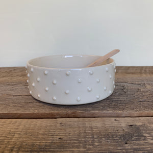 IVORY PATE DISH WITH DOTS WITH SPOON