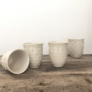 IVORY WINE CUPS WITH DOTS (Set of 2)