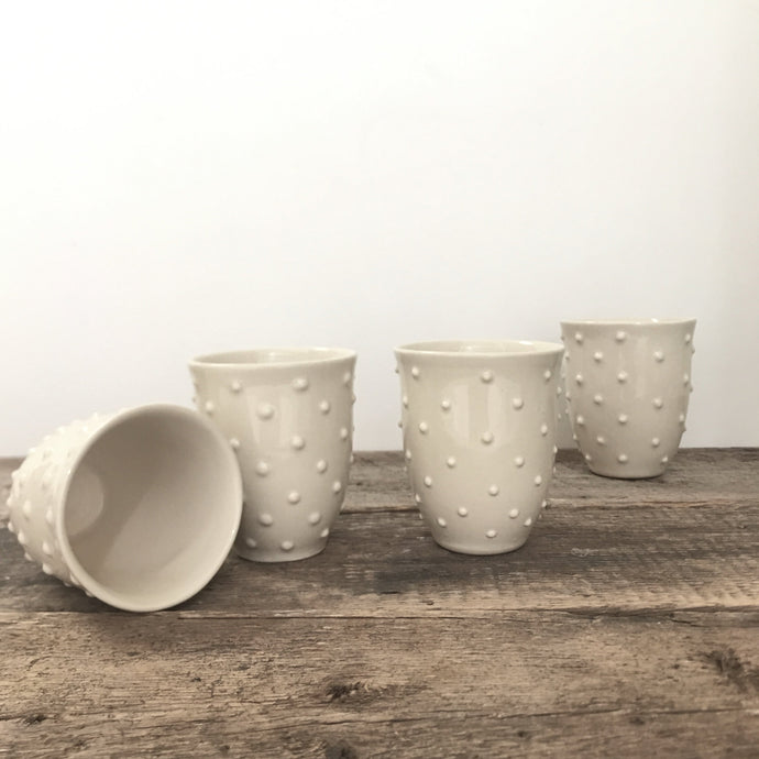 IVORY WINE CUPS WITH DOTS