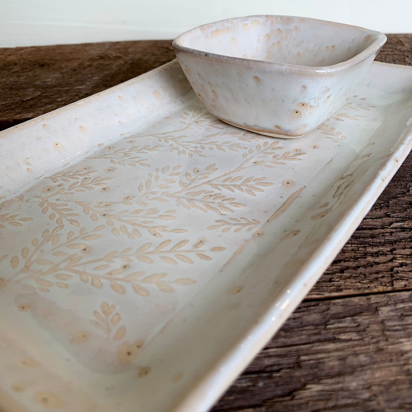 OATMEAL SMALL RECTANGLE PLATTER SET WITH FERNS (5.5