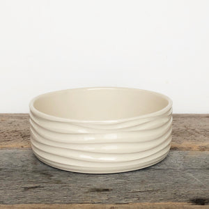 IVORY PATE DISH IN WAVE WITH SPOON