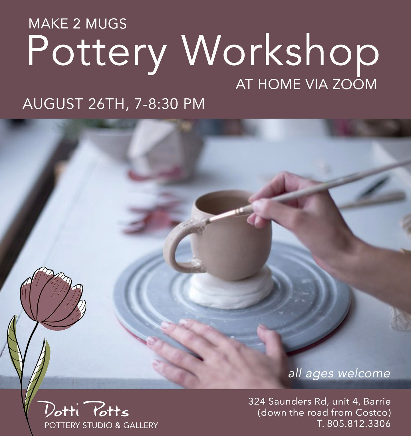 Virtual workshop to make two mugs on August 26