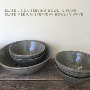 IVORY LINDA SERVING BOWL WITH DOTS
