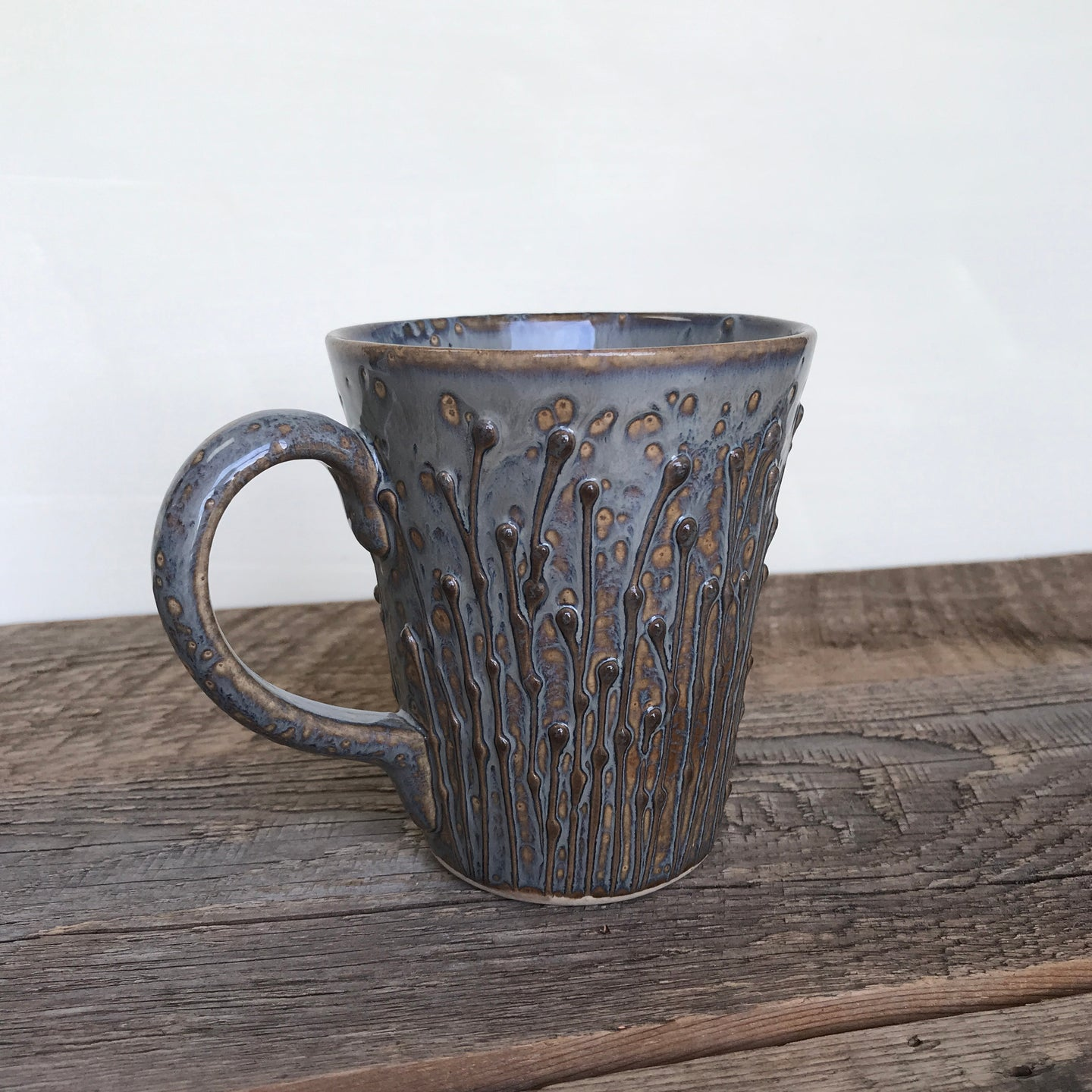 SLATE MUG WITH PUSSY WILLOWS - 16 OUNCES