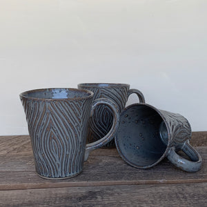 SLATE MUG WITH CARVED WOODGRAIN - 16 OUNCES