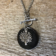 Load image into Gallery viewer, CHARM NECKLACE IN BLACK WITH TREE OF LIFE