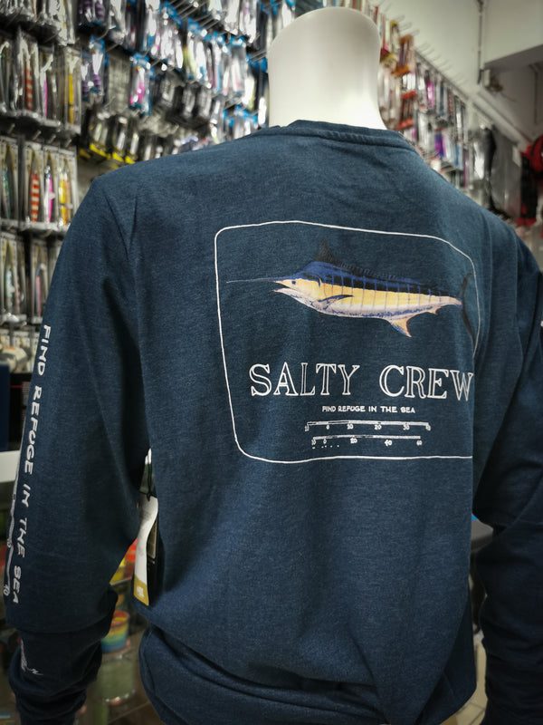 Sweat-Shirt Salty Crew Protection Uv 40 Marlin Mount Carve Navy Heather