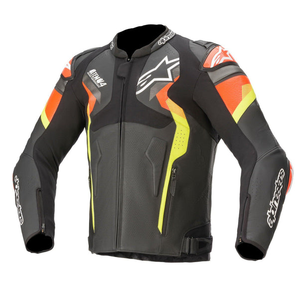 Blouson Alpinestars Atem V4 Leather Black Red Fluo Yellow fluo