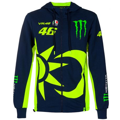 Sweat shirt zippé à capuche VR46 Monster bleu