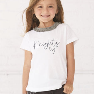 Knights Heart Ruffle Neck Toddler Tee
