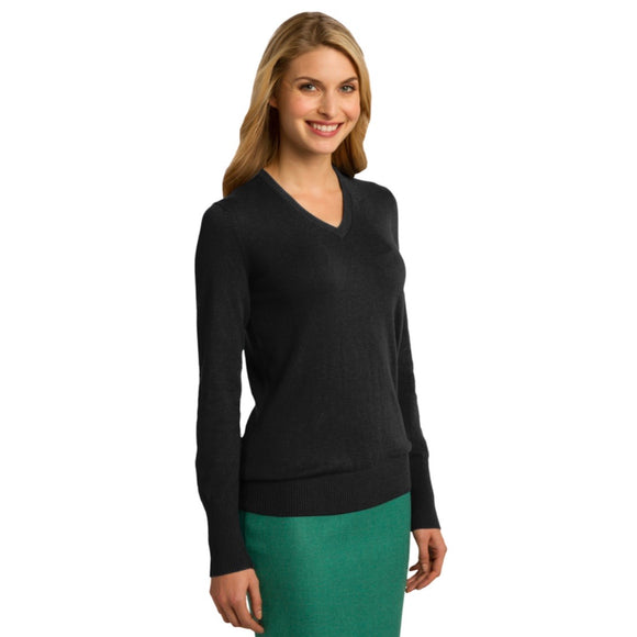Port Authority Ladies V-Neck Sweater (Embroidered Logo)