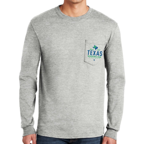 Long Sleeve Ultra Cotton Pocket Tee, TRAPS Logo (S-5XL)