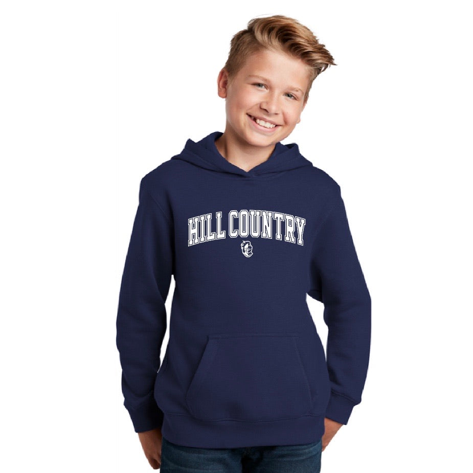 Hill Country Block Font Fleece Hoodie, Youth