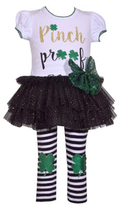 Perfect Pinch Proof St. Patrick's Day Outfit for Girls Size 4T-6X includes shamrock, glitter and tutu!