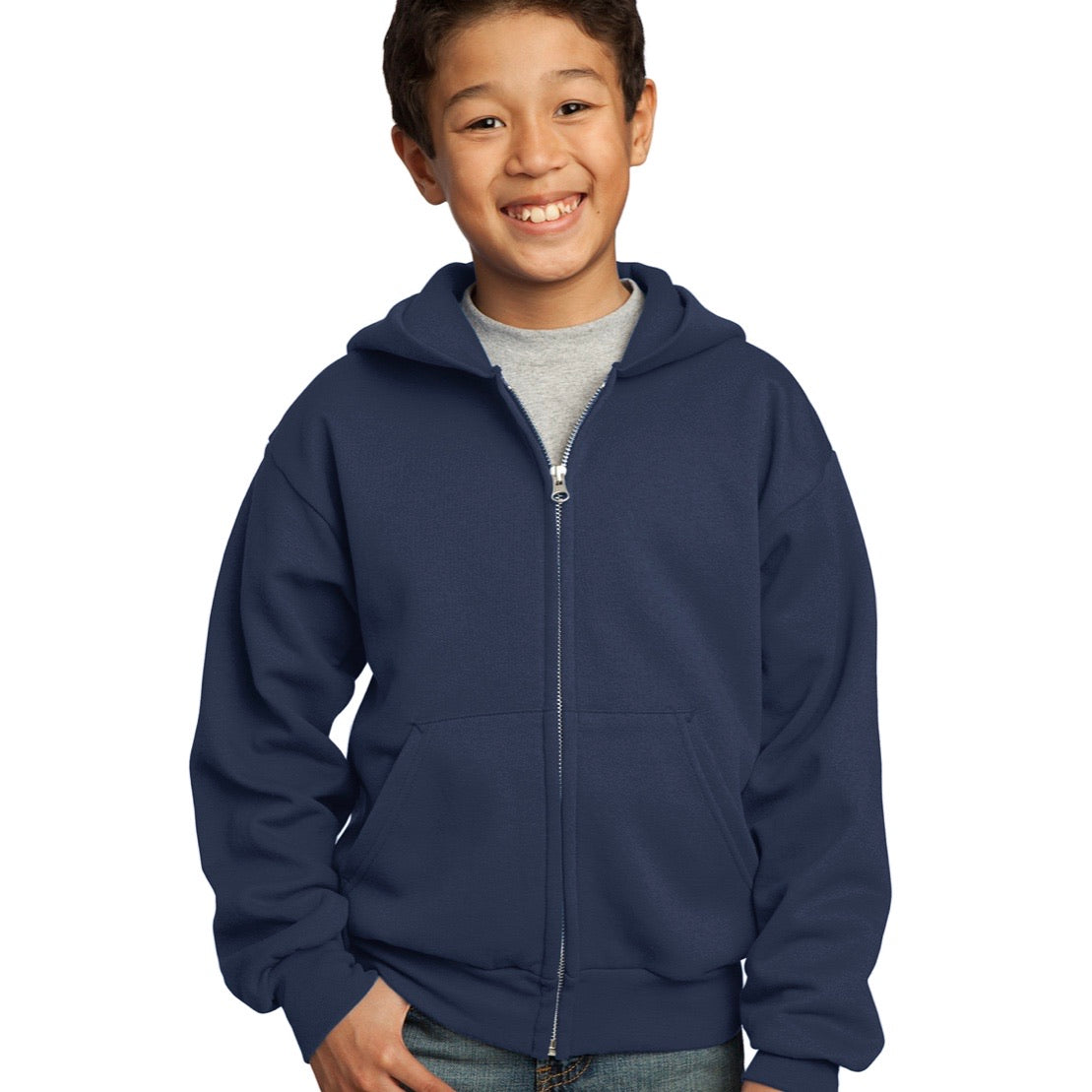 Fleece Full Zip Hoodie Embroidered Logo, Youth (Y2T-4XL)