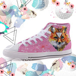 Watercolor Fox High-top canvas shoes