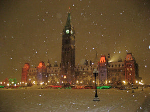 colourful christmas lights on canada's parliament building with snow falling