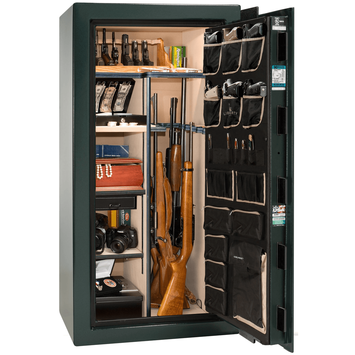 "Classic Select | 25 | Level 6 Security | 90 Minute Fire Protection | Green | Brass Electronic Lock | 60.5""(H) x 30""(W) x 28.5""(D)"