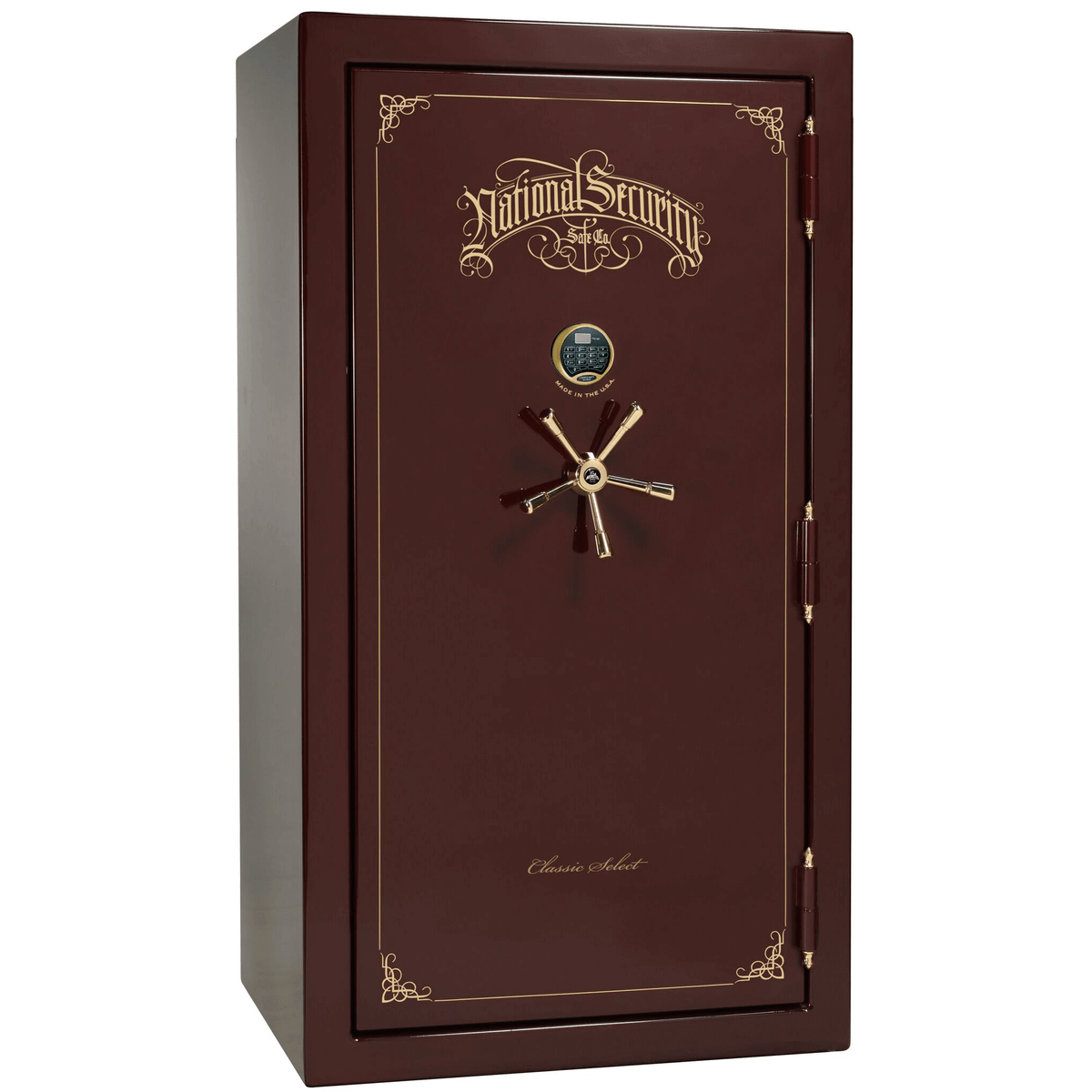 "Classic Select | 40 | Level 6 Security | 90 Minute Fire Protection | Burgundy Gloss | Brass Electronic Lock | 66.5""(H) x 36""(W) x 32""(D)"