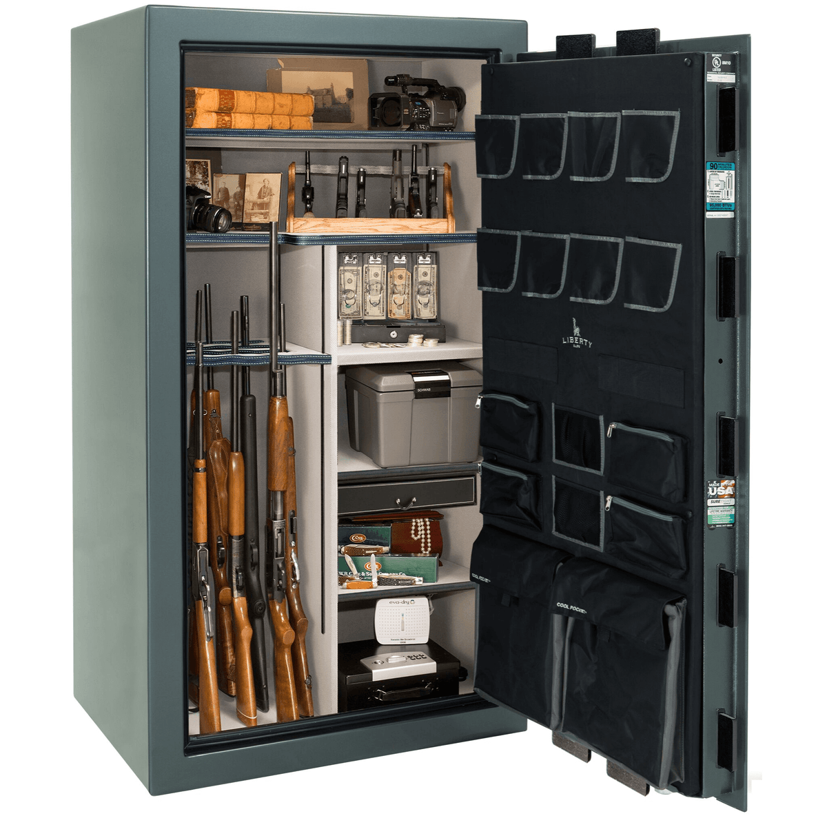 "Classic Select | 40 | Level 6 Security | 90 Minute Fire Protection | Forest Mist Gloss | Black Mechanical Lock | 66.5""(H) x 36""(W) x 32""(D)"