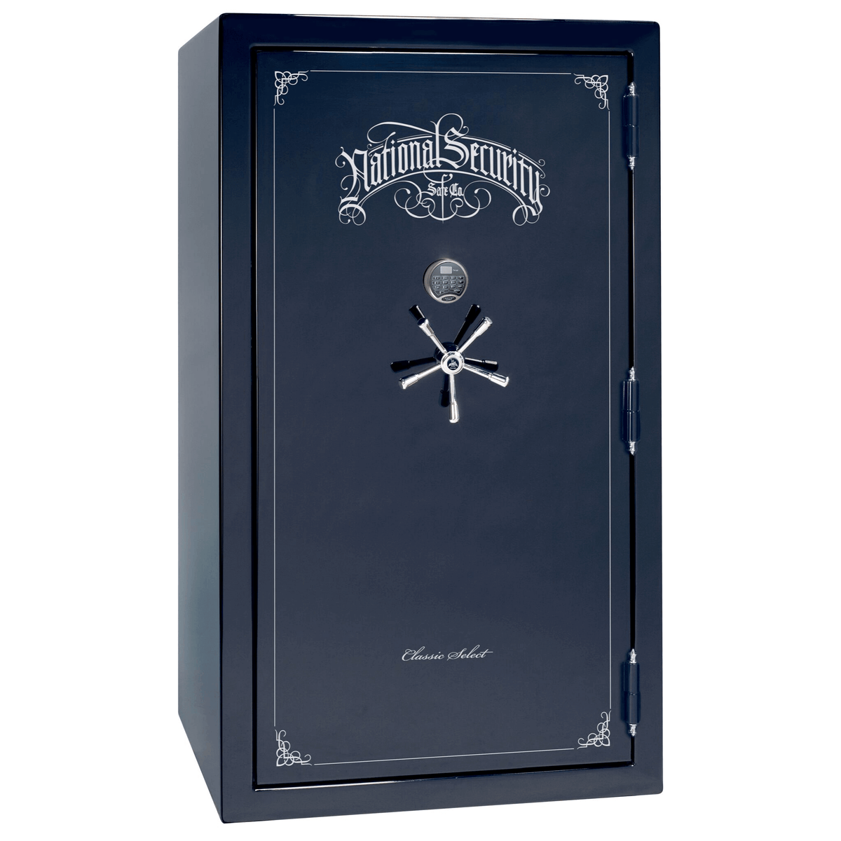 "Classic Select | 50 | Level 6 Security | 90 Minute Fire Protection | Blue Gloss | Chrome Electronic Lock | 72.5""(H) x 42""(W) x 32""(D)"