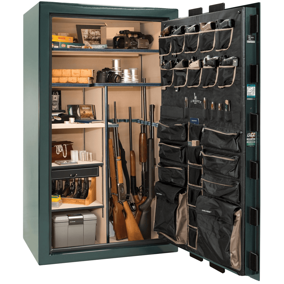 "Classic Select | 50 | Level 6 Security | 90 Minute Fire Protection | Green Gloss | Brass Mechanical Lock | 72.5""(H) x 42""(W) x 32""(D)"