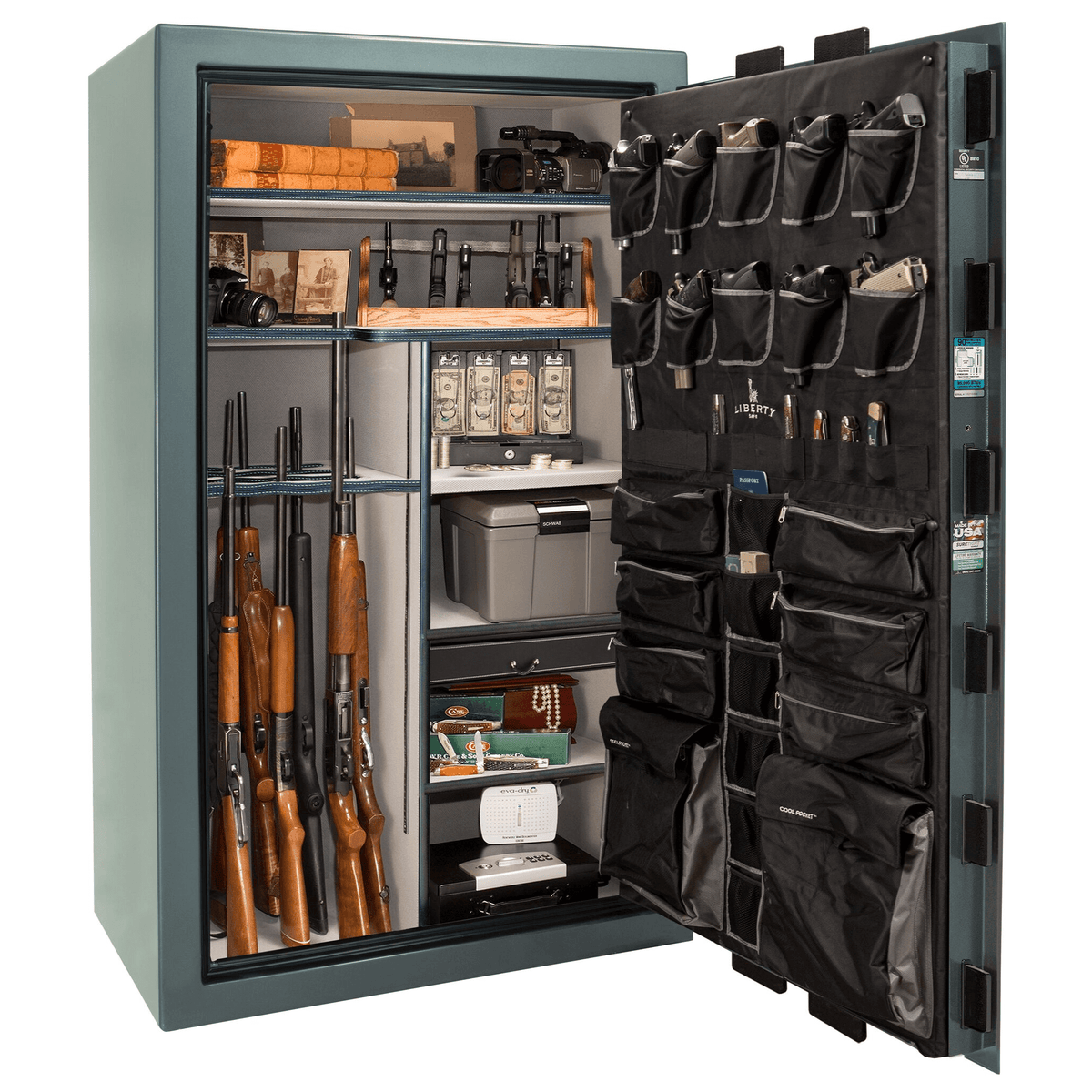"Classic Select | 50 | Level 6 Security | 90 Minute Fire Protection | Forest Mist Gloss | Black Mechanical Lock | 72.5""(H) x 42""(W) x 32""(D)"
