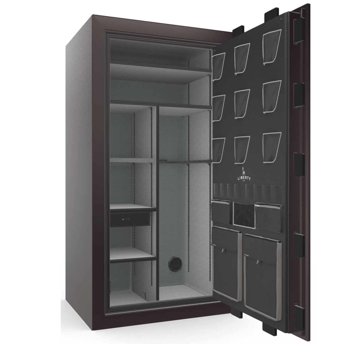 "Classic Plus | 40 | Level 7 Security | 110 Minute Fire Protection | Black Cherry Gloss | Black Electronic Lock | 65.5""(H) x 36""(W) x 32""(D)"