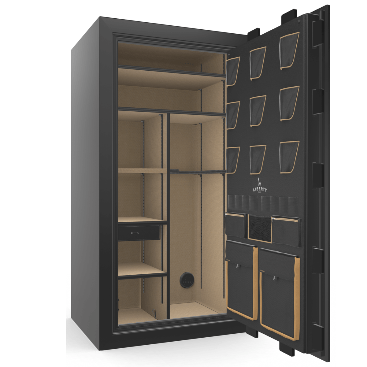 "Classic Plus | 40 | Level 7 Security | 110 Minute Fire Protection | Black Gloss | Brass Mechanical Lock | 65.5""(H) x 36""(W) x 32""(D)"