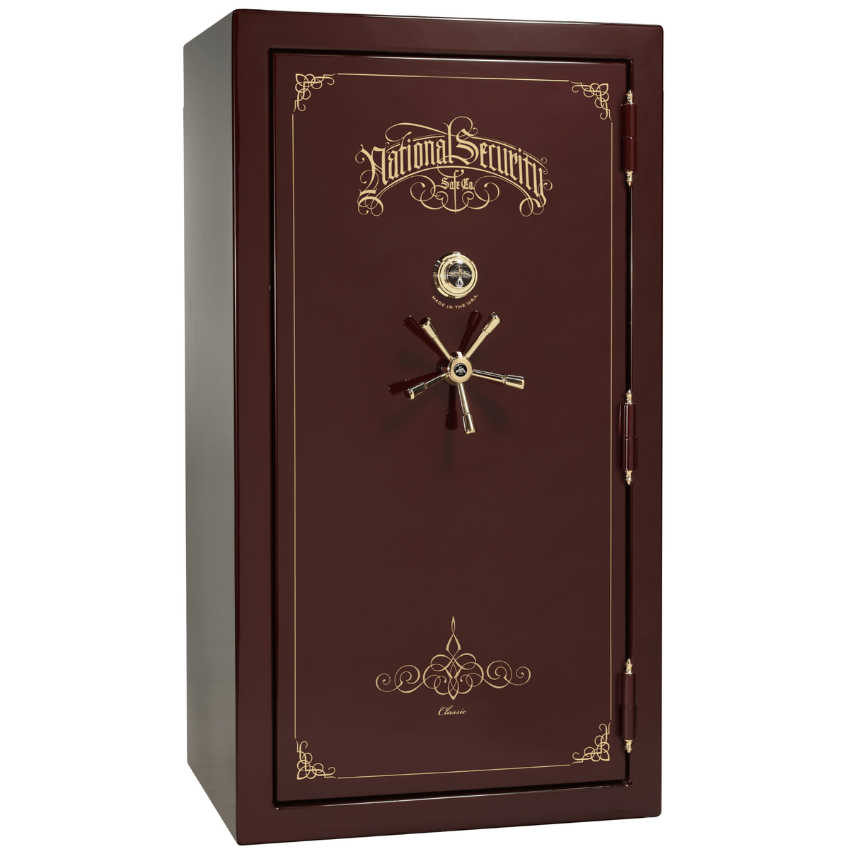 "Classic Plus | 40 | Level 7 Security | 110 Minute Fire Protection | Burgundy Gloss | Brass Mechanical Lock | 65.5""(H) x 36""(W) x 32""(D)"