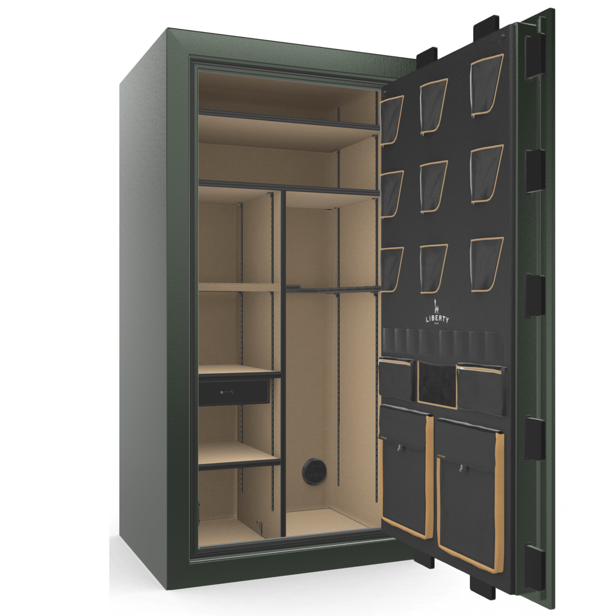 "Classic Plus | 40 | Level 7 Security | 110 Minute Fire Protection | Green | Brass Mechanical Lock | 65.5""(H) x 36""(W) x 32""(D)"