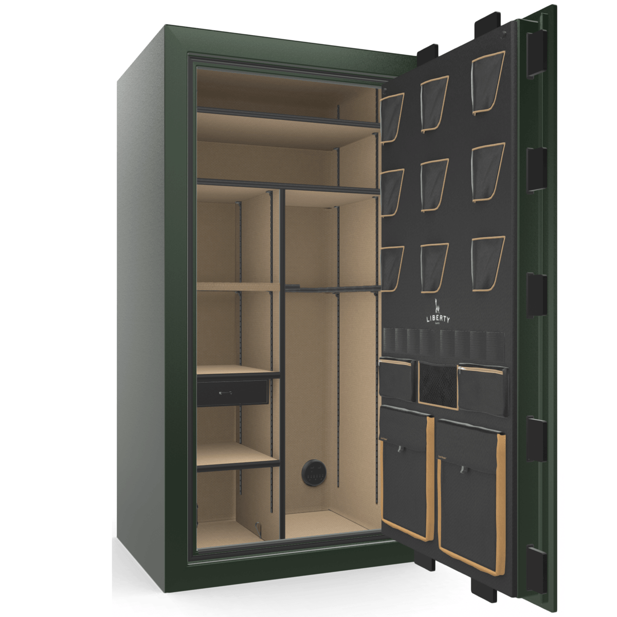 "Classic Plus | 40 | Level 7 Security | 110 Minute Fire Protection | Green 2-Tone | Black Electronic Lock | 65.5""(H) x 36""(W) x 32""(D)"