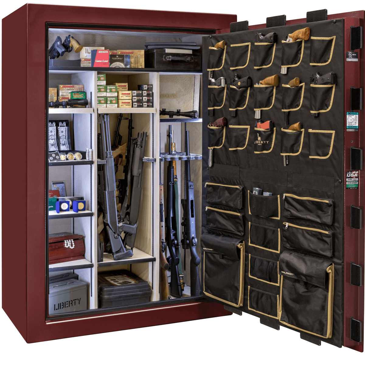 "Classic Select Extreme | 60 | Level 6 Security | 90 Minute Fire Protection | Burgundy Gloss | Brass Electronic Lock | 72.5""(H) x 50""(W) x 32""(D)"