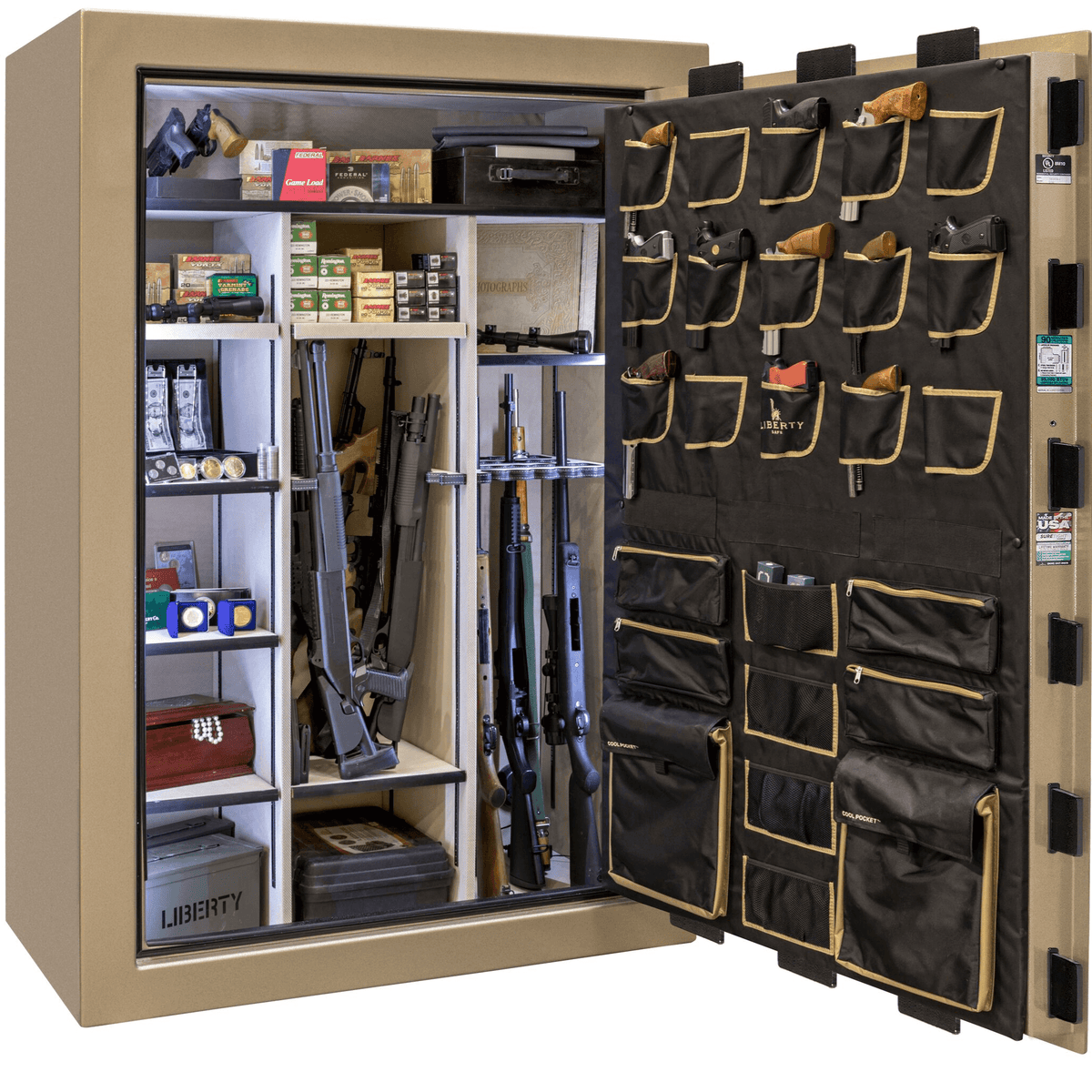 "Classic Select Extreme | 60 | Level 6 Security | 90 Minute Fire Protection | Champagne | Black Electronic Lock | 72.5""(H) x 50""(W) x 32""(D)"