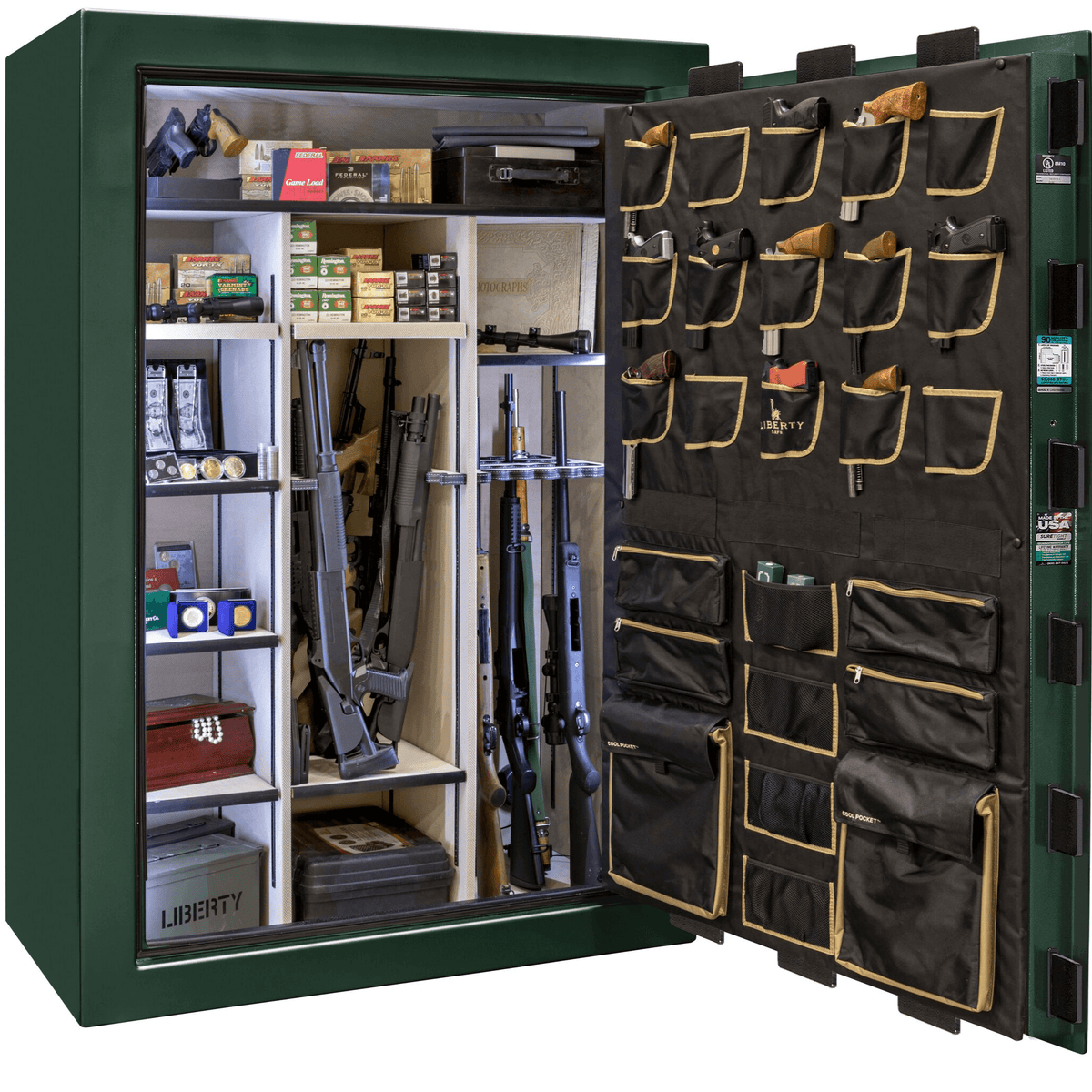 "Classic Select Extreme | 60 | Level 6 Security | 90 Minute Fire Protection | Green Gloss | Brass Mechanical Lock | 72.5""(H) x 50""(W) x 32""(D)"