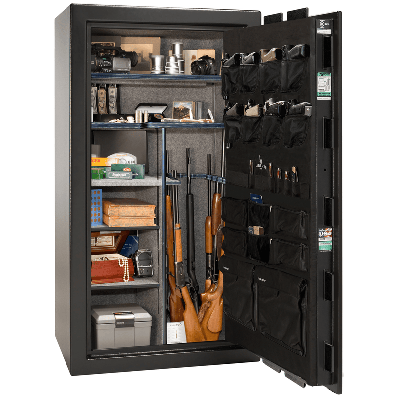 "Franklin 40 | Iwo Jima | Level 4 Security | 75 Minute Fire Protection Safe | Black Gloss | Electronic Lock | Dimensions: 66.5""(H) x 36""(W) x 32""(D)"
