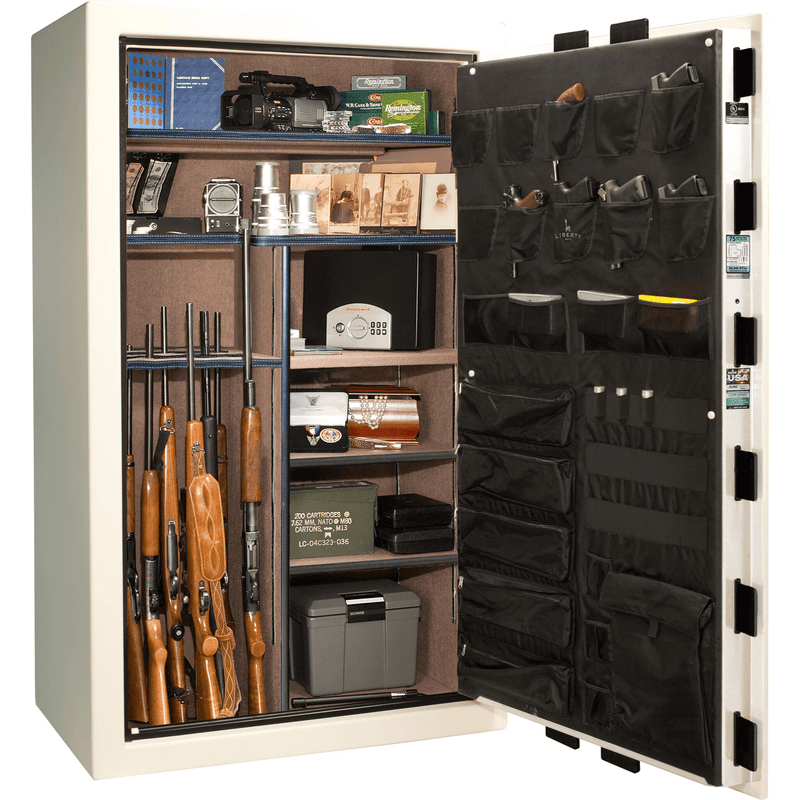 "Franklin | 50 | Level 4 Security | 75 Minute Fire Protection | White Gloss | We The People | Black Electronic Lock | 72.5""(H) x 42""(W) x 32""(D)"