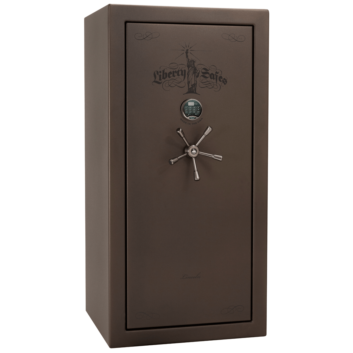 "Lincoln | 25 | Level 5 Security | 90 Minute Fire Protection | Bronze | Black Electronic Lock | 60.5""(H) x 30""(W) x 28.5""(D)"