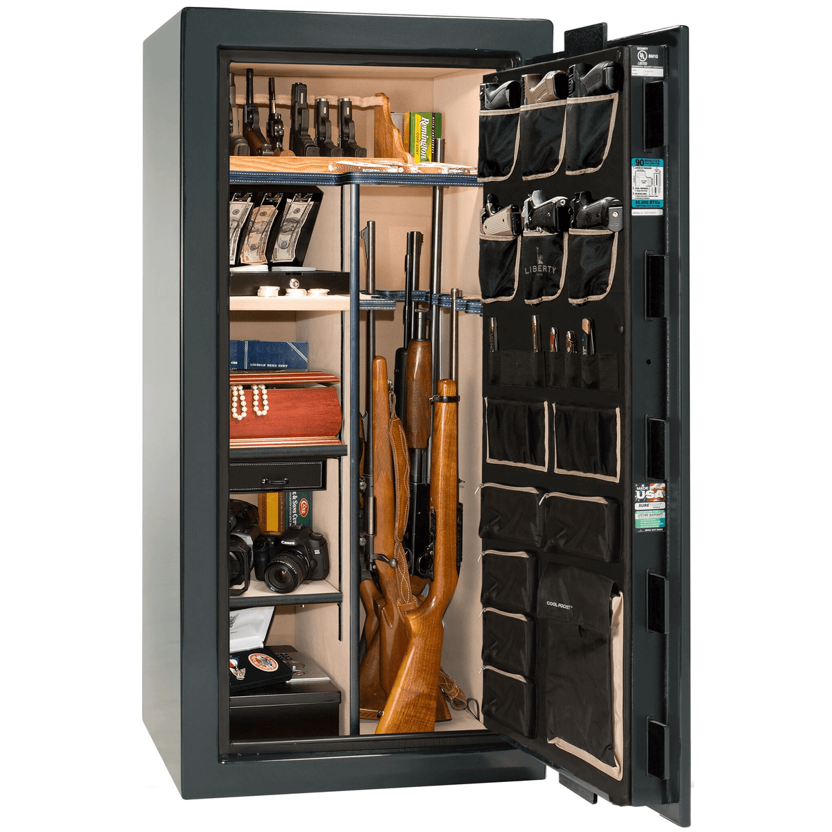 "Lincoln | 25 | Level 5 Security | 90 Minute Fire Protection | Green Gloss | Black Electronic Lock | 60.5""(H) x 30""(W) x 28.5""(D)"
